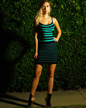 Herve Leger Drielle Striped Aqua Combo Colorblocked Dress