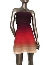 Herve Leger Lake Red Mahogany Ombré Strapless Dress