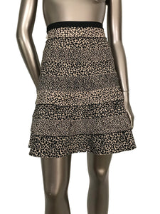 Herve Leger Paloma Dune Combo A-Line Fit & Flare Skirt