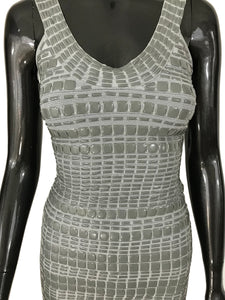 Herve Leger Gray Enamel Embellished Smoke Dress