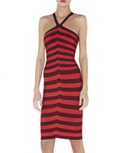 Herve Leger Zindzi Striped Red Beet Halter Dress