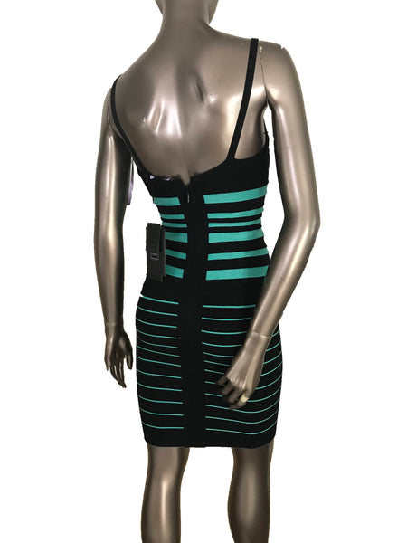 8995c2d16422 ... Herve Leger Drielle Striped Aqua Combo Colorblocked Sleeveless Dress