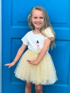 Doe a Dear Girls Ballerina Set Tulle Tutu Skirt and T-shirt