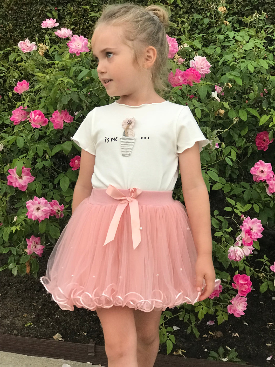 Flaricent Girls Tulle Tutu Pink Skirt with Pearls