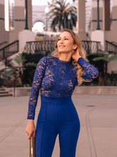 Flaricent Blue Cobalt Long Sleeves Lace Jumpsuit