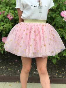 Doe a Dear Girls Tulle Tutu Pink Skirt with Stars