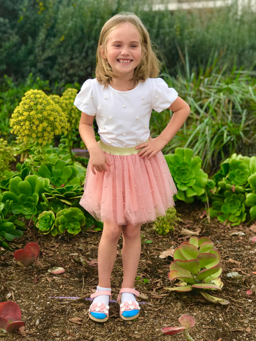 Doe a Dear Girls Pearls White T-shirt and Ballerina Tutu Skirt Outfit Set
