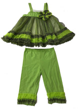 Isobella & Chloe Chartreuse Tulle Ruffles Sleeveless Baby Girl Dress and Pants Combo