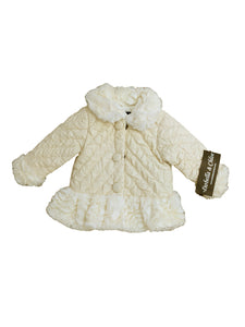 Isobella & Chloe Girls Cream Ivory Off-White Quilted Crinkled Coat