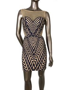 JVN by Jovani Embellished Mini Nude Effect Sleeveless Dress