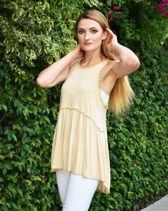 Flaricent Racerback Top Crochet Trim Beige Honey Gold