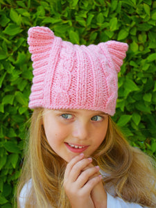 Flaricent Girls Pink Fuchsia Kitty Cat Hat