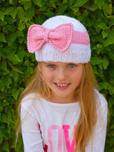 Flaricent Toddler Girls Hand Knitted White Hat with Pink Bow