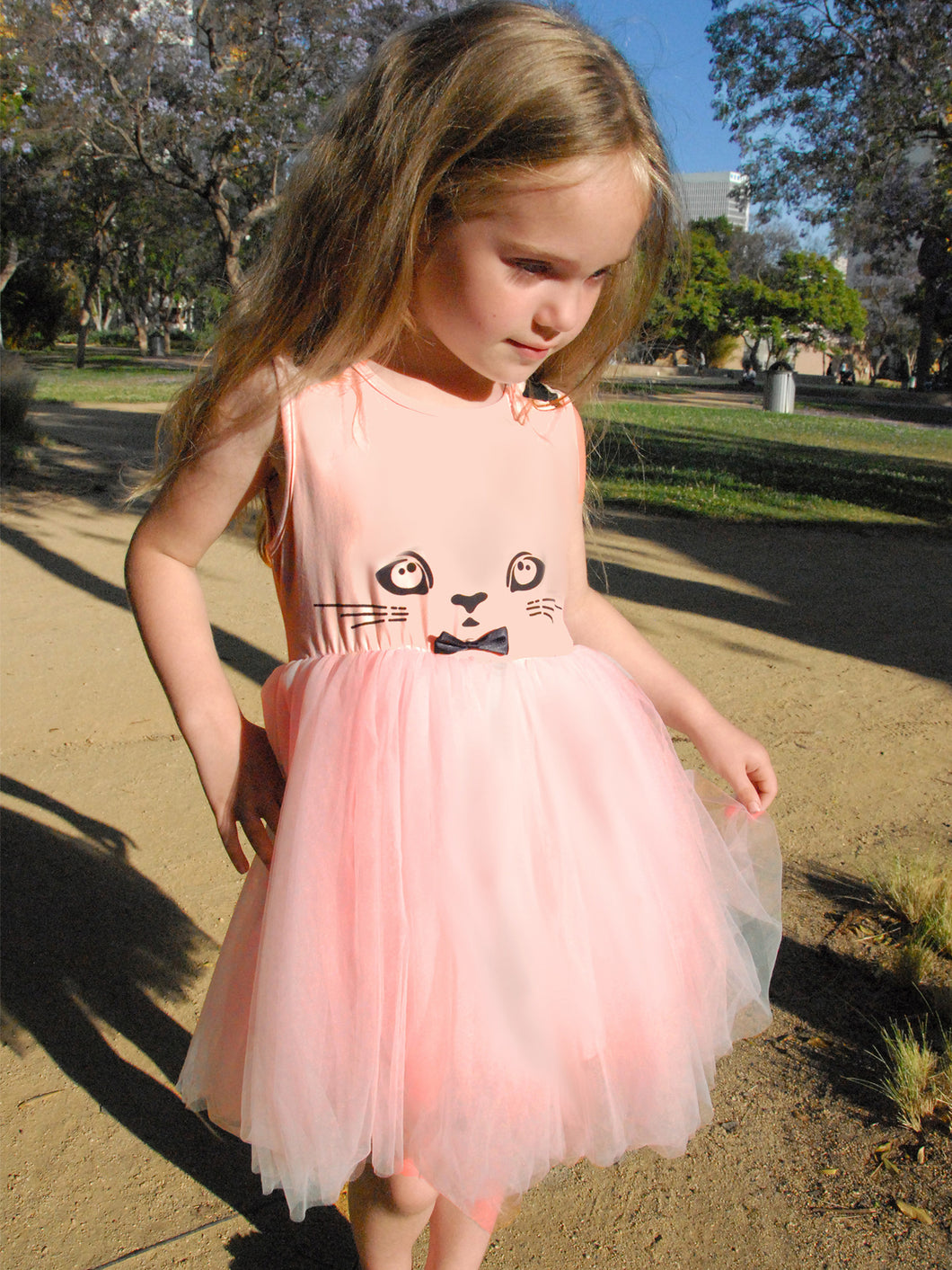 Doe a Dear Girls Tulle Tutu Pink Kitty Dress
