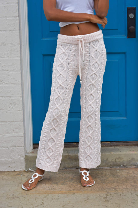 Flaricent Peach Cable Knit Lounge Super Soft Pants