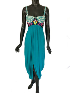 Mara Hoffman Blue Embroidered Turquoise Maxi Dress