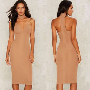 Rare London Hotline Halter Bodycon Mock Neck Midi Dress