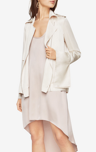 BCBG Max Azria Dean Satin Moto Jacket in Chalk