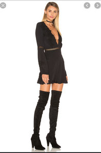 For Love and Lemons Lilou Black Deep Plunge Romper