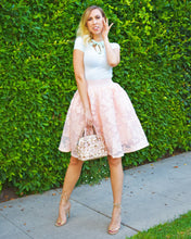 Maje Puff Lace Peach Floral Mesh Rose Skirt