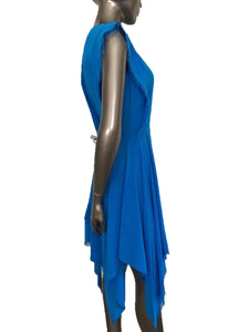 Sandro Rodia 100% Silk Blue Turquoise Frayed Handkerchief Hem Dress