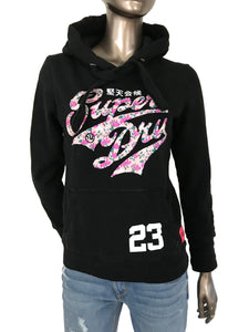 Superdry Stacker Entry Hoodie Black Fleece Sweatshirt