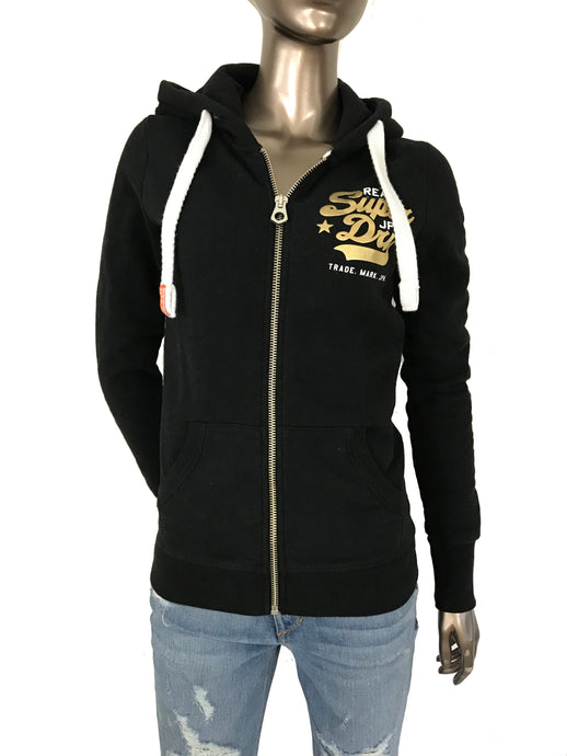 Superdry New  Original Hoodie Black Fleece Sweatshirt