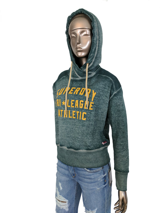 Superdry Tri League Slouch Teal Hoodie Sweatshirt