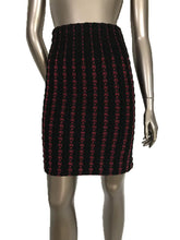 Alaia Black Cranberry Wool Blend Striped Power Knit Pencil Skirt