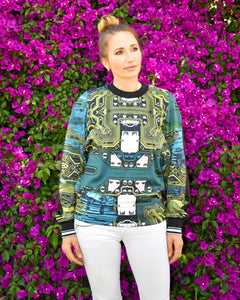 Clover Canyon Long Sleeves Teal Multi Sweatshirt