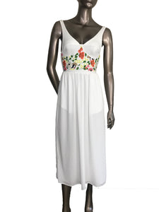 Clover Canyon Maxi Bustier Floral Neoprene White Dress