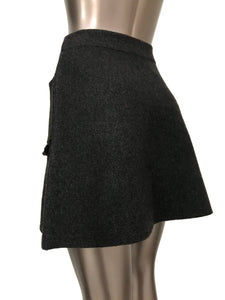 Flaricent Gray Flared A-line Side Pockets Ruffle Detail Skirt