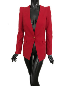 Flaricent Red Long Sleeves Work Office Blazer Jacket