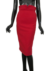 Flaricent Red Pencil Knee Length Power Skirt
