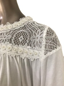 Flaricent Short Sleeve Top with Lace Inserts Pearl Trim