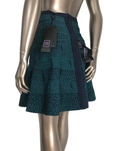 Herve Leger Paloma Deep Teal A-Line Fit & Flare Skirt