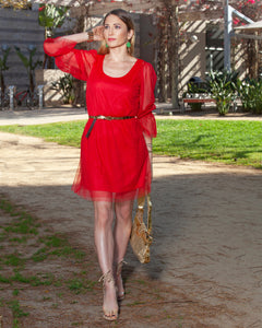 Staud Red Beaded Cuff Tulle Mesh Long Sleeves Dress