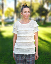 Joie Ivory Rafel Fringed Open Stitch Cotton Top