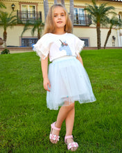 Flaricent Unicorn Girls Tulle Tutu Blue Skirt with Pearls and T-shirt Set