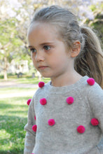 Doe a Dear Girls 100% Cashmere Gray Sweater with Pom Poms
