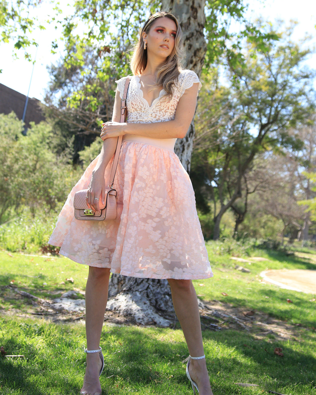 Maje lace puff peach skirt