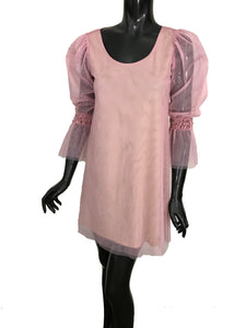 Staud Pink Taylor Beaded Cuff Tulle Mesh Long Sleeves Dress