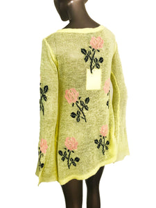 "Wildfox Couture White Label ""The Little Eddie"" Yellow Wool Blend Sweater with Roses"