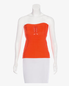 Herve Leger Lani Orange Strapless Carotene Bandage Top