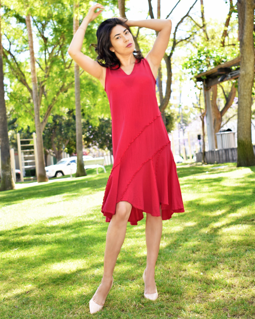 Oh My Gauze 100% Cotton Red Dress in Tabasco Crimson