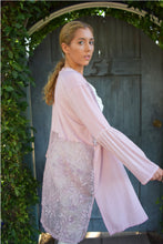 POL Clothing Purple Pink Long Sleeves Lace Inserts Cardigan
