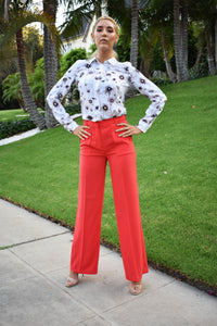BCBG Max Azria Jacklyn Red Wide Leg Pants
