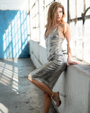 Rare London Halter Silver Olive Spaghetti Straps Party Dress