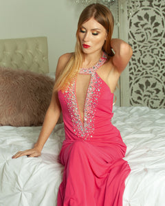 Jovani Pink Jeweled Embellished Pink Halter Gown