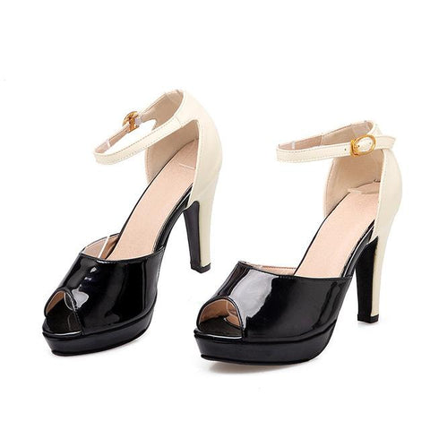 Women Peep Toe Ankle Strap High Heel  Shoes Cusual Shoes